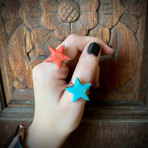 Coral & Turquoise Star Rings