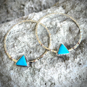 Hammered Turquoise Triangle Hoops