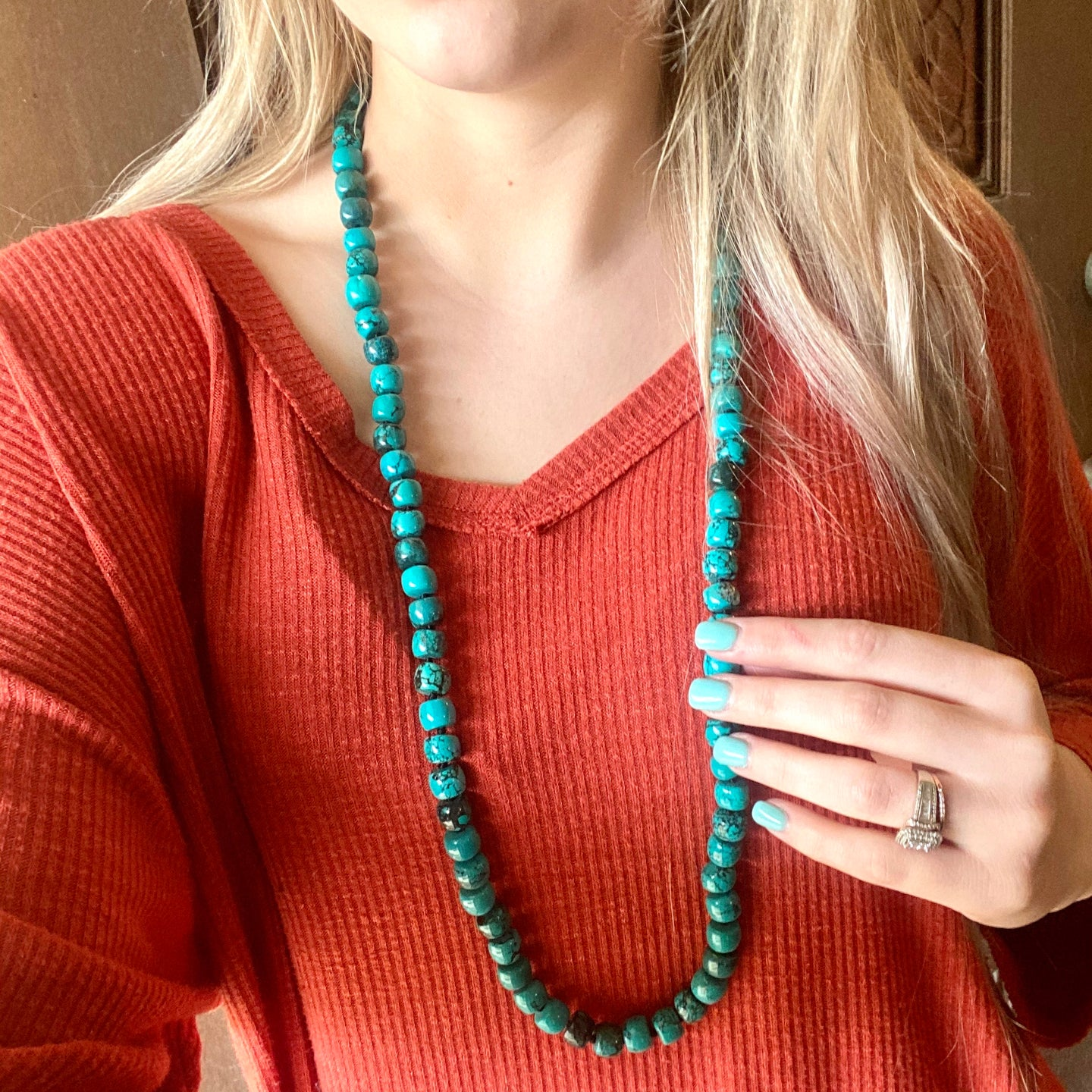 Turquoise Barrel Bead Layering Necklace