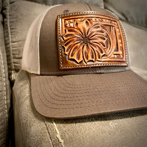 Daisy Tooled Patch Brown Hat