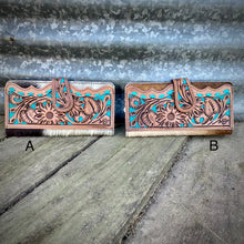 Load image into Gallery viewer, Turquoise Tooled Cowhide Wallet