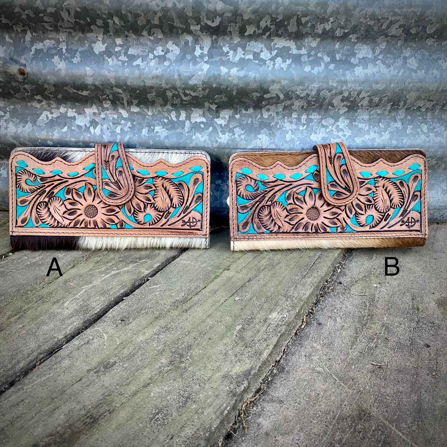 Turquoise Tooled Cowhide Wallet