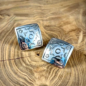 Sterling Square Studs