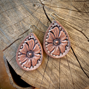 Floral Tooled Earrings