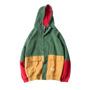 Patchwork Corduroy Hooded Jacket