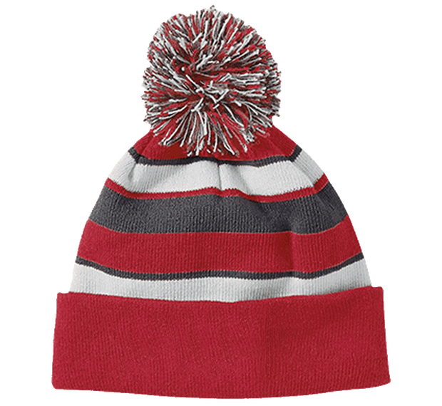 Customizable Holloway Striped Beanie with Pom