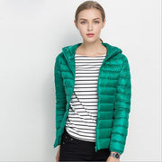 Winter Women Ultra Light Down Jacket White Duck Down Hooded Jackets Long Sleeve Warm Coat Parka Female Solid Portable Outwear