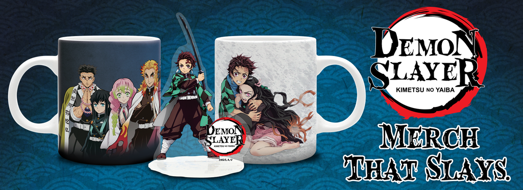 Demon Slayer mugs and acrylic figures