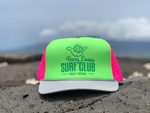 Surf Hat - Pink & Neon Green with Grey bill & Green Metallic print