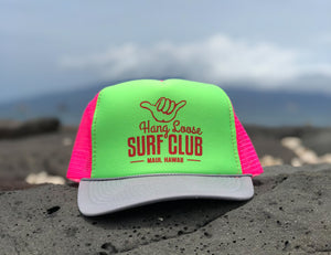 Surf Hat - Pink & Neon Green with Grey bill & Red Metallic print