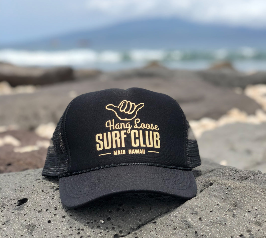Surf Hat - Black w/ Gold metallic print