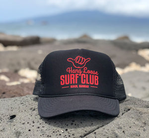 Surf Hat - Black w/ Red metallic print