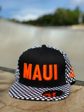 Snapback - Black & White Checkered with Orange