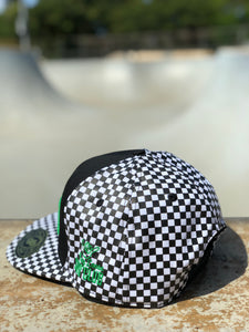 Snapback - Black & White Checkered with Green