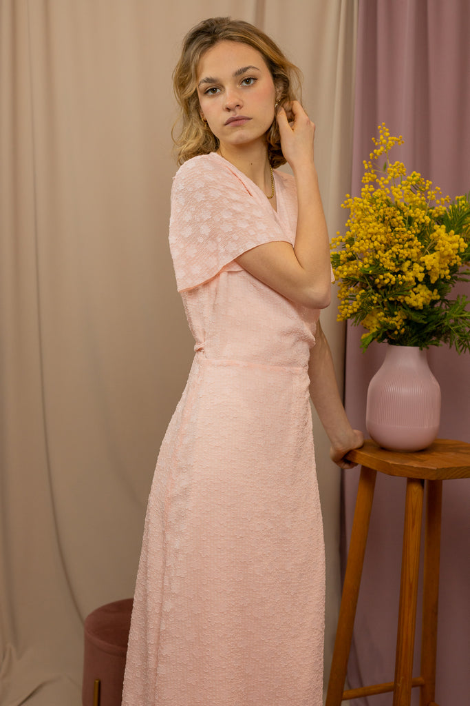 Robe longue portefeuille rose clair