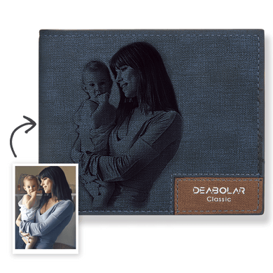 Short Custom Photo Wallet Blue