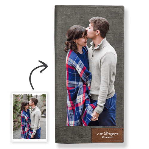 Long Custom Photo Wallet Grey Color Printing