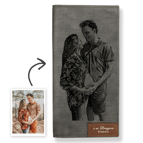 Long Custom Photo Wallet Grey