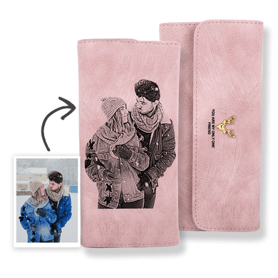 Women's Photo Engraved Trifold Photo Wallet - Pink Leather