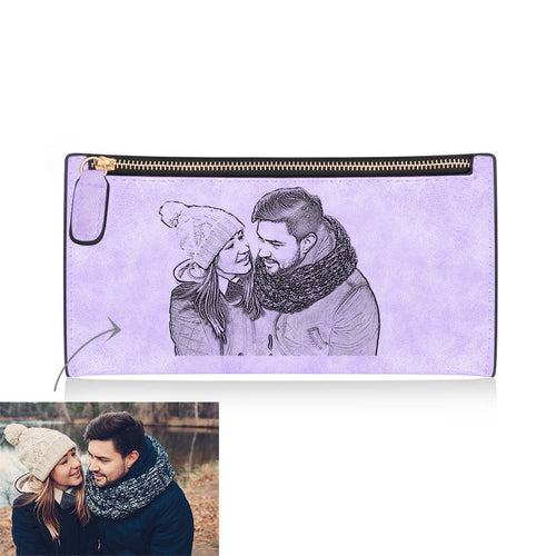 Women's Long Style Custom Inscription Photo Engraved Zipper Wallet - Purple Leather