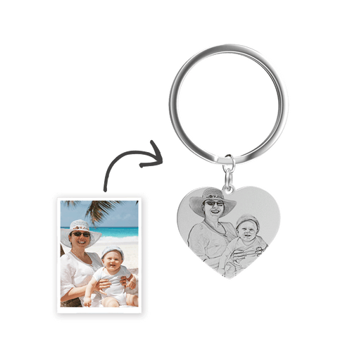 Heart Photo Engraved Tag Key Chain