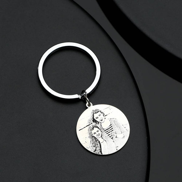 Round Photo Engraved Tag Key Chain