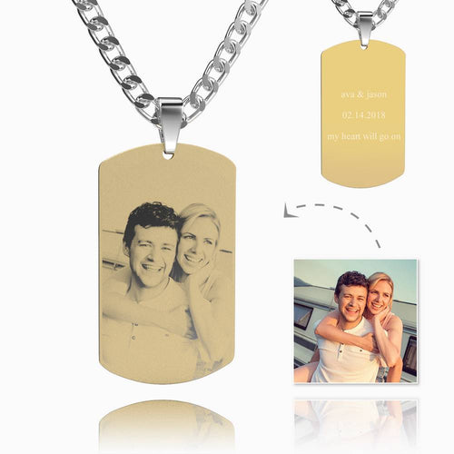 Men's Photo Engraved Tag Necklace With Engraving 18k Gold Plated Stainless Steel