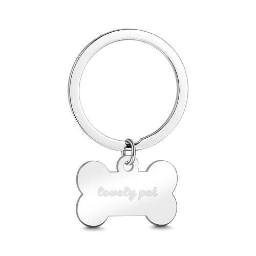 Bone Shape Engraved Key Chain Stainless Steel