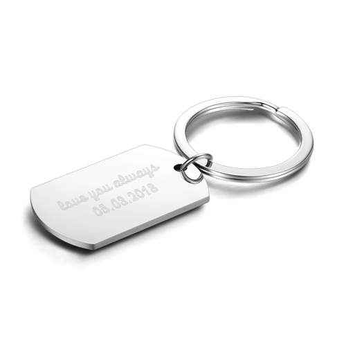 Tag Engraved Key Chain Stainless Steel
