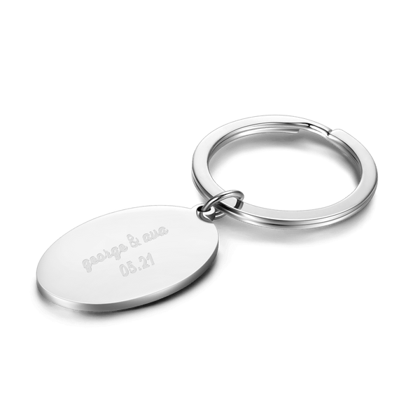 Oval Shape Engraved Key Chain Stainless Steel
