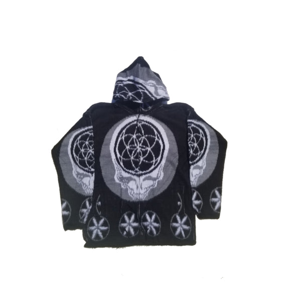 Flower of Life Skull Jacket-Black