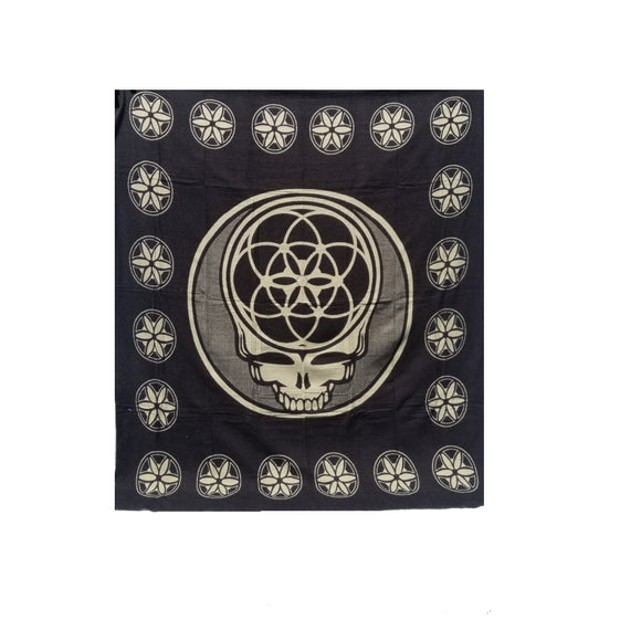 Flower of Life Skull Blanket-Black
