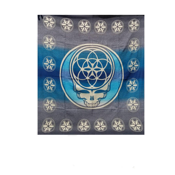 Flower of Life Skull Blanket-Blue