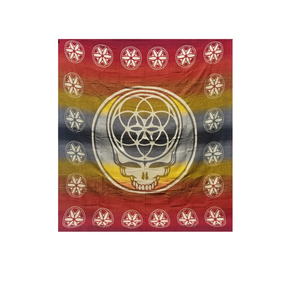 Flower of Life Skull Blanket-Red
