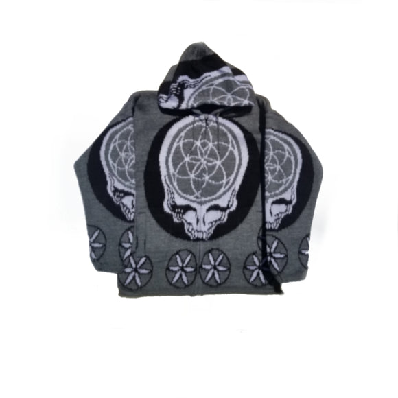 Flower of Life Skull Jacket-Grey