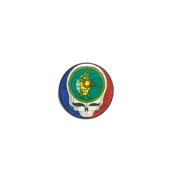 Grateful Dead Steal Your Face with Green Terrapin and Guitar Pin