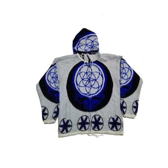 Flower of Life Skull Jacket-White