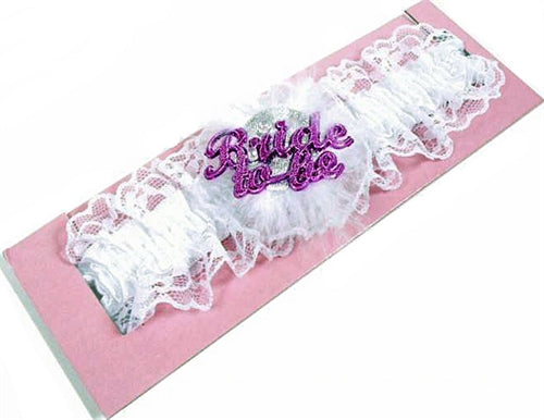 Bride-to-Be Flashing Garter - White OMG-AL-FG-BTBW