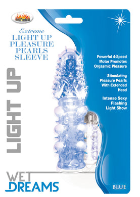 Light Up Extreme Pleasure Pearls Sleeve - Blue HTP2786