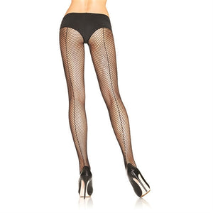 Fishnet Backseam Pantyhose - Queen Size - Black LA-9015QBLK