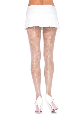 Fishnet Backseam Pantyhose - One Size - White LA-9015WHT