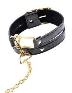 Fetish Fantasy Gold Collar and Leash - Black PD3978-23