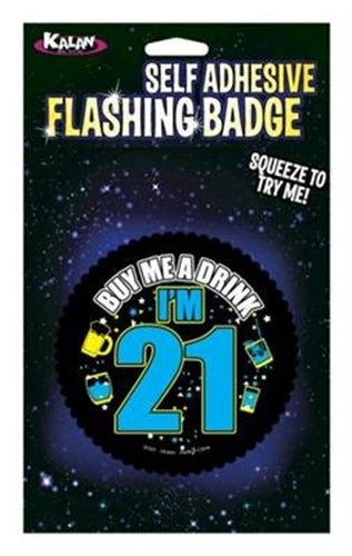 Self Adhesive Flashing Badge - Buy Me a Drink i'm 21