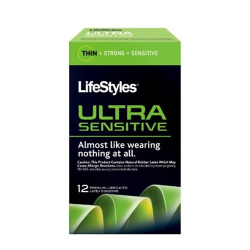 Lifestyles Ultra Sensitive Lubricated Condoms - 12 Pack