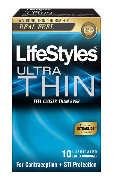 Lifestyles Ultra Thin Lubricated Condoms - 10 Pack