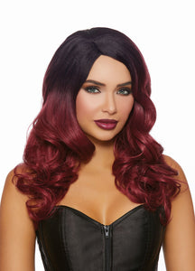 Long Curly Black and Burgandy Ombre Wig DG-11338MLT