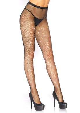 Fishnet Crystalized Tights With Multi Sized  Iridescent Rhinestone - Black LA-9026