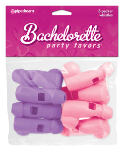 Bachelorette Party Favors 8 Pecker Whistles - Pink and Purple PD6029-01