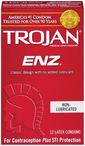 Trojan Enz Non-Lubricated Condoms - 12 Pack Tj90750 TJ90752