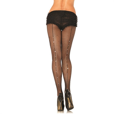 Fishnet Backseam Pantyhose - One Size - Black LA-9133
